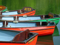 Colorful boats on boating lake