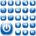 Shiny Buttons Icons Business Internet Website Set 3 Blue