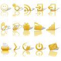 Web Gold Icons Set Shadows & Relections on White 2