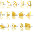 Web Gold Icons Shadows & Relections Angled on White Set 2