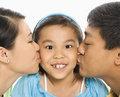 Parents kissing girl.