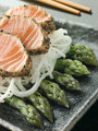 Seared Salmon Sashimi Black Pepper with a Mouli and Asparagus Sa