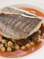 Fillets of Sea Bream with Chorizo Sausage Chickpeas and Tomato S