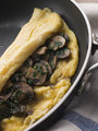Mushroom Omelette folded in a Omelette Pan