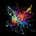 Ink splatter rainbow black background