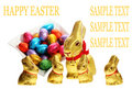 Golden chocolate Easter bunnies
