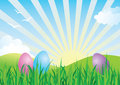 Colorful Easter Eggs in Spring Landscape