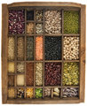 Beans, grains, seeds in vintage typesetter box