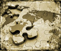 Grunge world jigsaw
