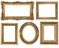 Vintage Detailed Gold Empty Oval and Square Picure Frames
