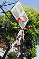 Jumping basketball player