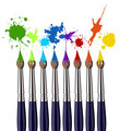 Different Paint brushes and color splash - paint splatter