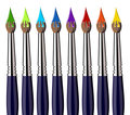 Paint brushes with color splash aligned