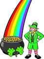 Leprechaun, Pot o' Gold, Shamrocks and Rainbow
