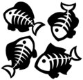 Various fishbones silhouettes