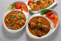 Vegetable & eggplant curry with vegetable rice