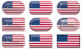 Nine glass buttons of the Flag of the United States