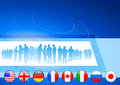 Business Crowd on Internet Flag Buttons Background