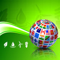 Flags Globe on Green Nature Background