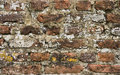 Part of 300 years old brick stone wall in close view