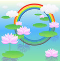 Lotus flower and rainbow