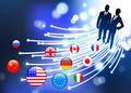 Business Couple on  internet flag buttons background