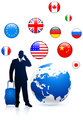 Businessman traveler with Globe and internet flag buttons