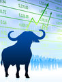 Bull on stock market background with financial team