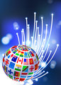 Flags Globe on Fiber Optic Background