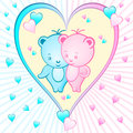 Cute bear cartoons in a heart