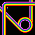 A colourful retro background with rainbow coloured lines