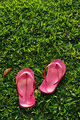 Slippers on grass field