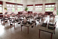 Empty school dining hall