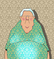 Happy Old Lady Cartoon
