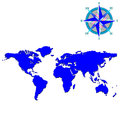 Blue world map with wind rose