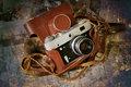 Vintage folding camera grunge