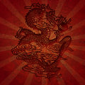 Paper Cutting Asian Dragon with Grunge Texture