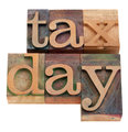 Tax day iwords in letterpress type