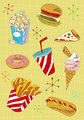 Grunge fast food icons set