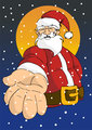Christmas series: Happy Santa giving hand