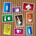 Medical and healtcare Icons - postage stamp