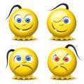 Four glossy smileys