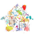 House Paint Drops Splatter Grunge Home Abstract