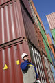 Port worker with containers