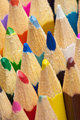 Tips of color pencils close up