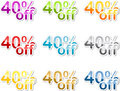 Forty percent off sticker