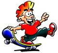 Street Punk in red t-shirt with his skateboard