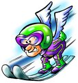 Ski jumping sportsman flying with wings