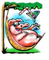 Fat Pig resting in a hammock