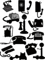 Big set of old phones silhouette. Vector illustration